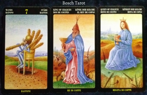 Bosch Tarot: 7 of Wands, King of Chalices, & Queen of Chalices.
