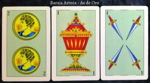 Baraja Azteca - As de Oro: 2 Oros, 1 Copa, & 4 Espadas.
