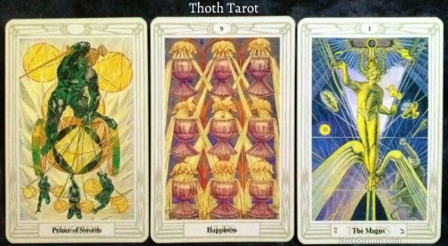 Thoth Tarot: Prince of Swords, 9 of Cups, & The Magus.