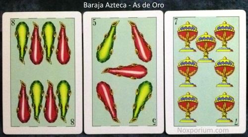 Baraja Azteca - As de Oro: 8 Bastos, 5 Bastos, & 7 Copas.
