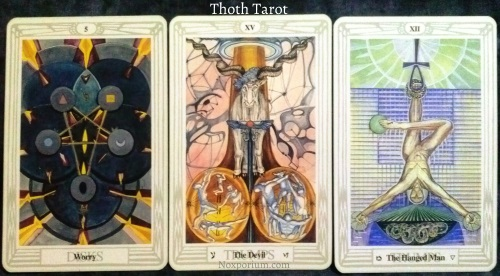 Thoth Tarot: 5 of Disks, The Devil, & The Hanged Man.