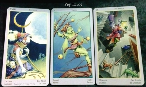 Fey Tarot: The Moon, 8 of Wands, & The Hermit.