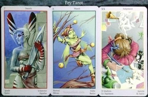 Fey Tarot: 7 of Swords, 8 of Wands, & Judgement.