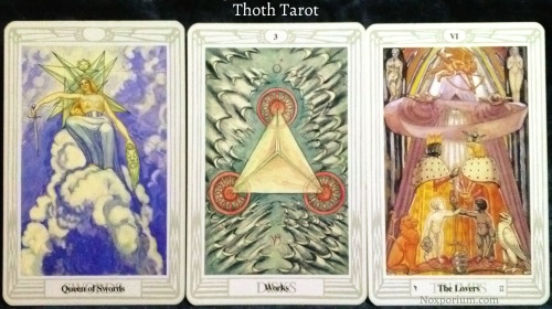 Thoth Tarot: Queen of Swords, 3 of Disks, & The Lovers.