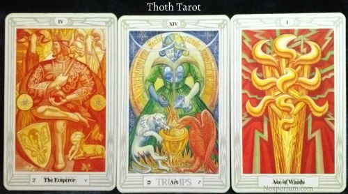 Thoth Tarot: The Emperor, Art, & Ace of Wands.