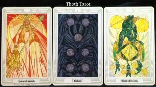 Thoth Tarot: Queen of Wands, 7 of Disks, & Prince of Swords.