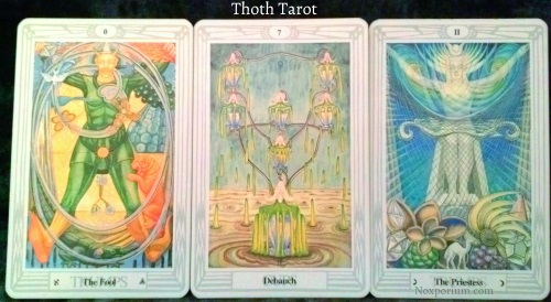 Thoth Tarot: The Fool, 7 of Cups, & The Priestess.