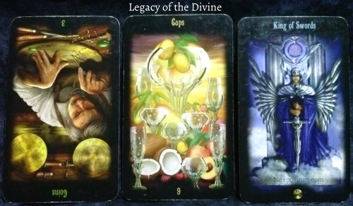 Legacy of the Divine: 3 of Coins reversed, 9 of Cups, & King of Swords.