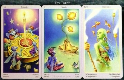 Fey Tarot: 10 of Pentacles, 3 of Wands, & Temperance.
