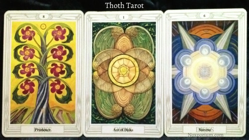 Thoth Tarot: 8 of Disks, Ace of Disks, & 6 of Disks.