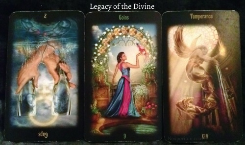 Legacy of the Divine: 2 of Cups reversed, 9 of Coins, & Temperance.