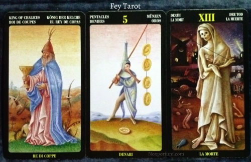 Bosch Tarot: King of Chalices, 5 of Pentacles, & Death.