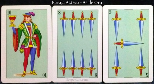 Baraja Azteca - As de Oro: 10 Copas, 8 Espadas, & 5 Espadas.