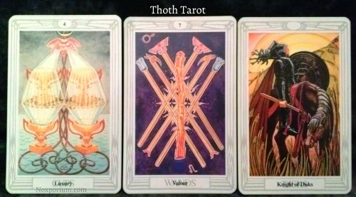 Thoth Tarot: 4 of Cups, 7 of Wands, & Knight of Disks.