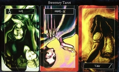 Sweeney Tarot: 2 of Cups reversed, Justice reversed, & 7 of Wands.