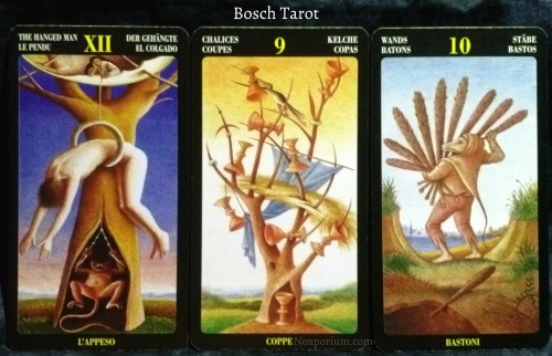 Bosch Tarot: The Hanged Man, 9 of Chalices, & 10 of Wands.