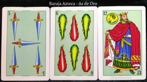 Baraja Azteca - As de Oro: 5 Espadas, 6 Bastos, & 12 Oros.