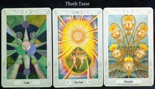 Thoth Tarot: 9 of Disks, The Sun, & 6 of Cups.