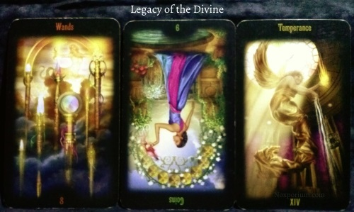 Legacy of the Divine: 8 of Wands, 9 of Coins reversed, & Temperance.