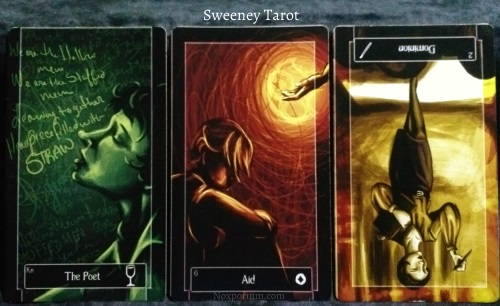 The Sweeney Tarot: Knight of Cups, 6 of Coins, & 2 of Wands reversed.