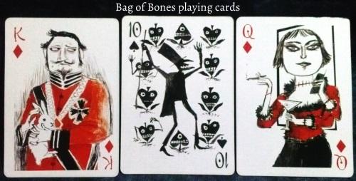 The Bag of Bones: King of Diamonds, 10 of Spades, & Queen of Diamonds.