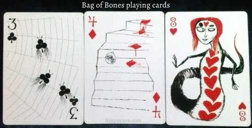 The Bag of Bones: 3 of Clubs, 4 of Diamonds, & 8 of Hearts.