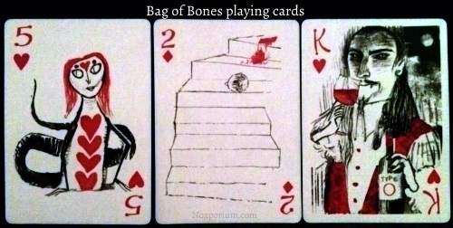 The Bag of Bones: 5 of Hearts, 2 of Diamonds, & King of Hearts.