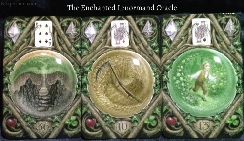 The Enchanted Lenormand Oracle: Crossing + Scythe + Child.