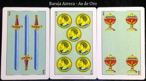 Baraja Azteca - As de Oro: 3 Espadas, 7 Oros, & 4 Copas.