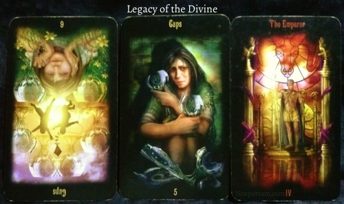 Legacy of the Divine: 6 of Cups reversed, 5 of Cups, & The Emperor.