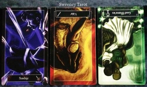 Sweeney Tarot: 8 of Swords, 7 of Wands reversed, 6 of Cups reversed.