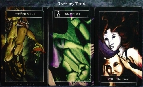 Sweeney Tarot: The Magician reversed, Queen of Cups reversed, & The Moon.
