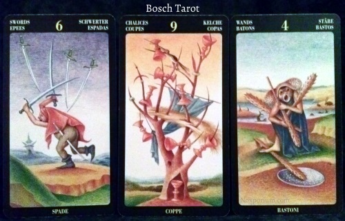 Bosch Tarot: 6 of Swords, 9 of Chalices, & 4 of Wands.