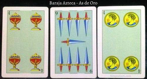 Baraja Azteca - As de Oro: 4 Copas, 9 Espadas, & 4 Oros.