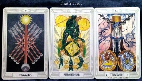 Thoth Tarot: 9 of Wands, Prince of Swords, & The Devil.