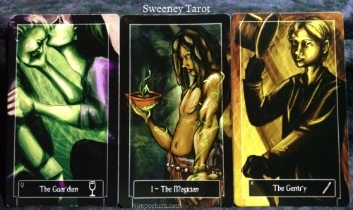 Sweeney Tarot: Queen of Cups, The Magician, & King of Wands.