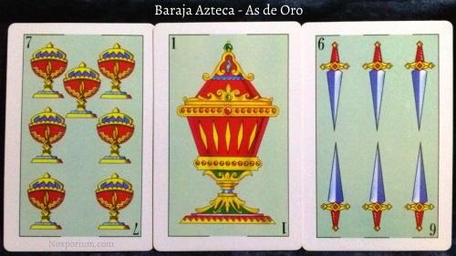 Baraja Azteca - As de Oro: 7 Copas, 1 Copa, & 6 Espadas.