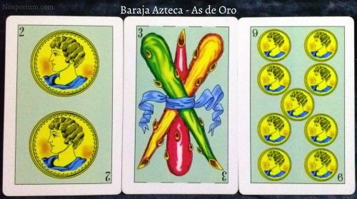 Baraja Azteca - As de Oro: 2 Oros, 3 Bastos, & 9 Oros.