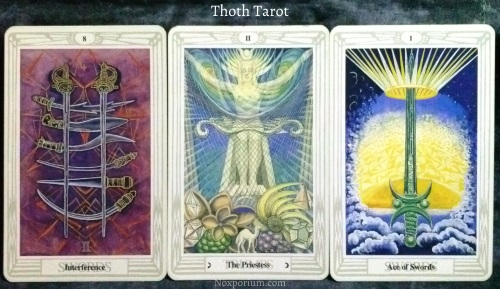 Thoth Tarot: 8 of Swords, The Priestess, & Ace of Swords.