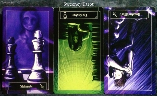 Sweeney Tarot: 2 of Swords, Page of Cups reversed, & 7 of Swords reversed.