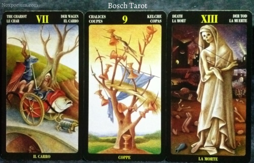 Bosch Tarot: The Chariot, 9 of Chalices, & Death.
