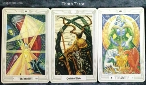 Thoth Tarot: The Hermit, Queen of Disks, & Art [XIV].