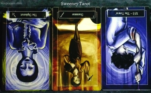 Sweeney Tarot: Page of Swords reversed, 2 of Wands reversed, & The Tower reversed.