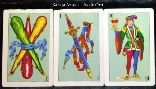 Baraja Azteca - As de Oro: 3 Bastos, 1 Espada, & 10 Copas.
