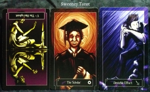 Sweeney Tarot: The Hierophant reversed, Page of Coins, & 7 of Swords.