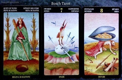 Bosch Tarot: Queen of Wands, 7 of Swords, & 8 of Pentacles.