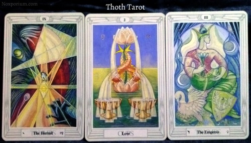 Thoth Tarot: The Hermit, 2 of Cups, & The Empress.