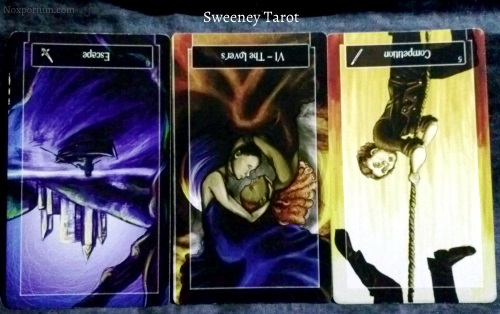Sweeney Tarot: 6 of Swords reversed, The Lovers reversed, & 5 of Wands reversed.