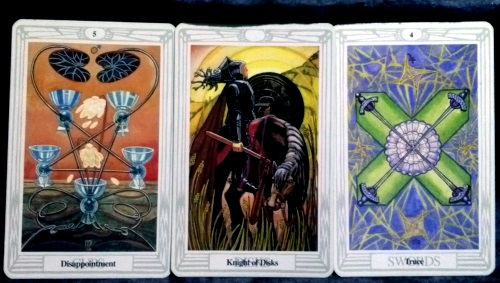 Thoth Tarot: 5 of Disks, Knight of Disks, & 4 of Swords.