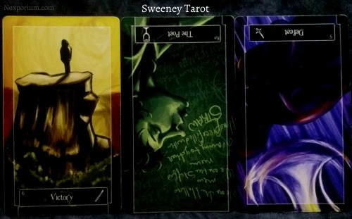 Sweeney Tarot: 6 of Wands, Knight of Cups reversed, & 5 of Swords reversed.